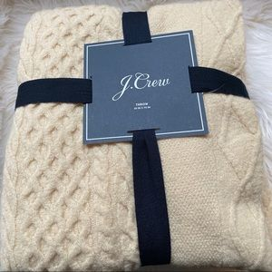 J. Crew Cable Knit Blanket Throw Cream